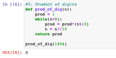 Product of digits in Python