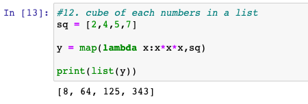 Cube of each numbers in a list using lambda function