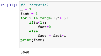 Factorial of a number in Python