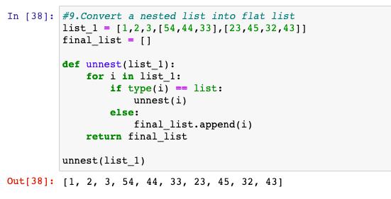 Convert a nested list in a flat list