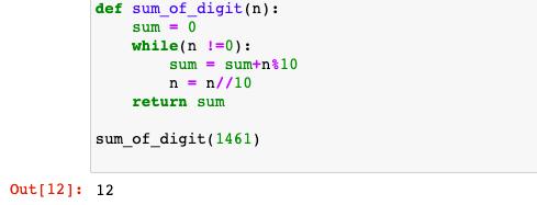 Sum of digits in Python
