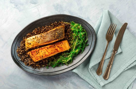 Crispy Skin Salmon and Wild Garlic Rice