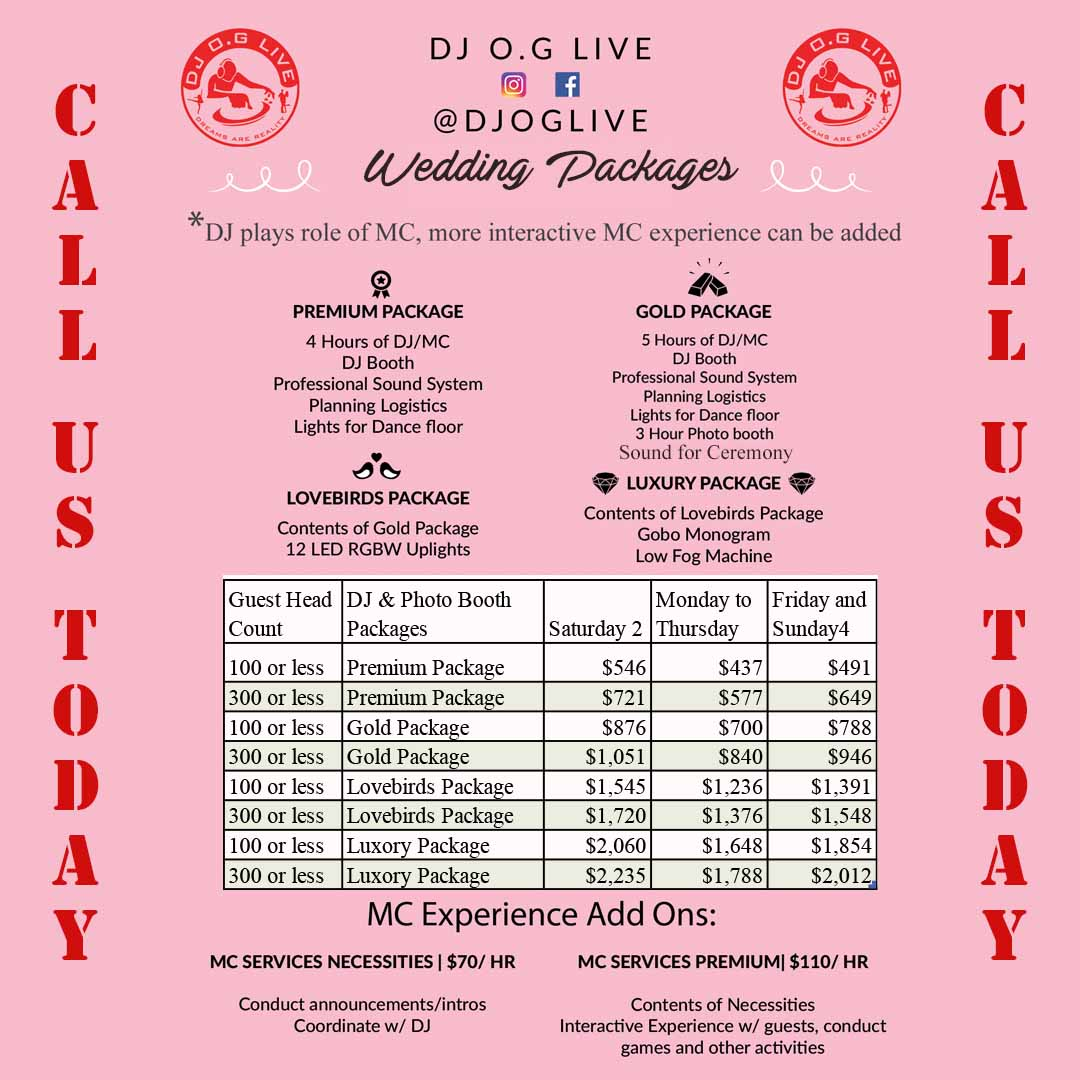 Wedding Packages DJ OG Live Doweny CA 90242 Latino DJ near me Wedding DJ near me copy