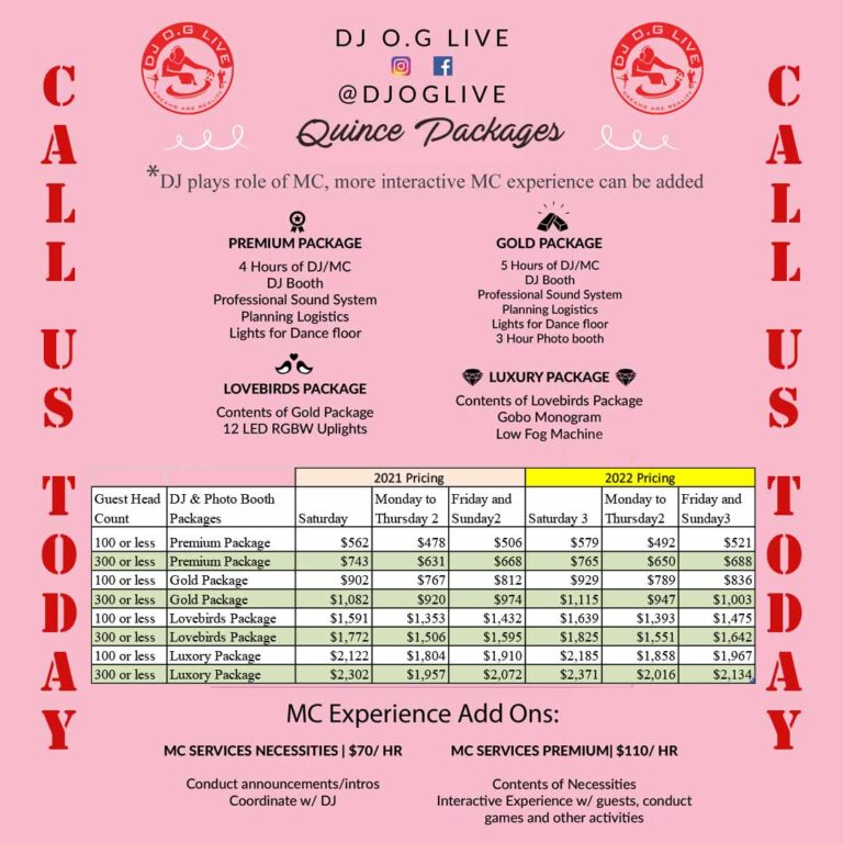 Quince downey ca 90242 Photobooth DJ OG Live Packages