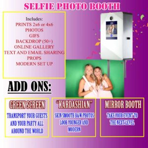 Selfie PHotobooth Downey CA 90242 Mirror Booth Green Screen Photo booth