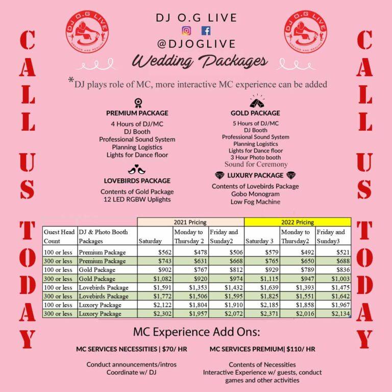Wedding Packages DJ O.G Live Downey CA 90242 Boda