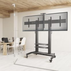 ONKRON Mobile TV Stand Dual TV Cart with Wheels for 40