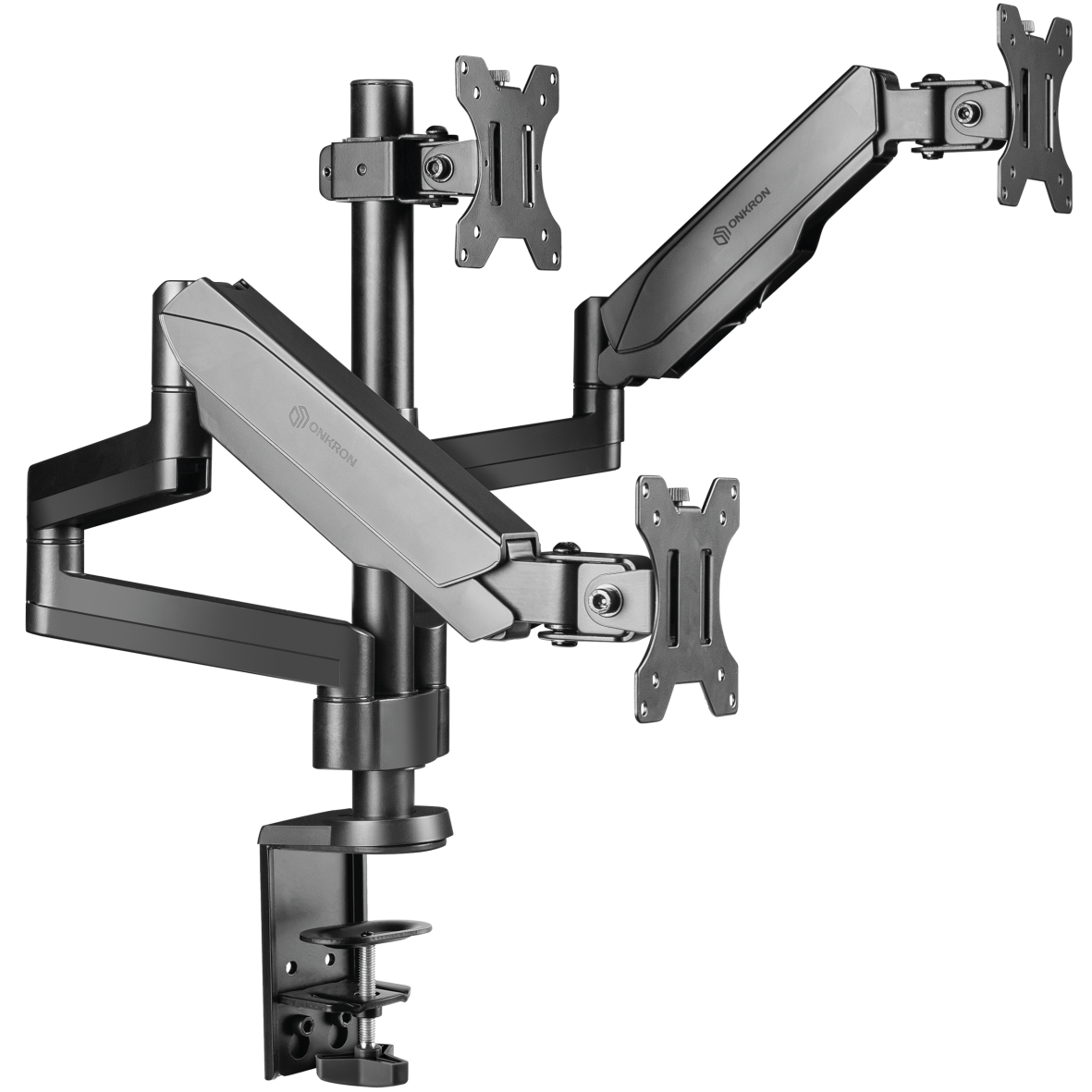 """ONKRON Triple Monitor Desk Mount Stand for 13"""" - 32 Inch 17.6 lbs G280 Black"""