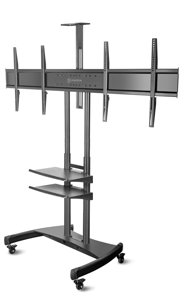 "ONKRON Mobile TV Stand Dual TV Cart with Wheels for 40"" – 65 Inch TS3881"