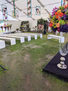 Picture of water soaked empty marquee, end of the day at RHS Tatton.