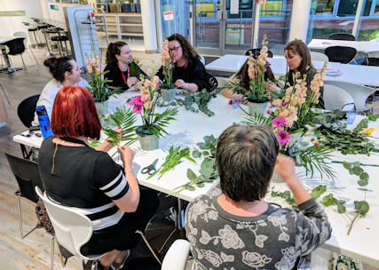 Corporate Mother's Day Flower Arranging.
