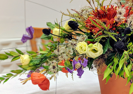 Halloween inspired floral designs.