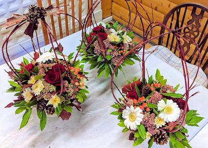 Autumnal flower arranging.