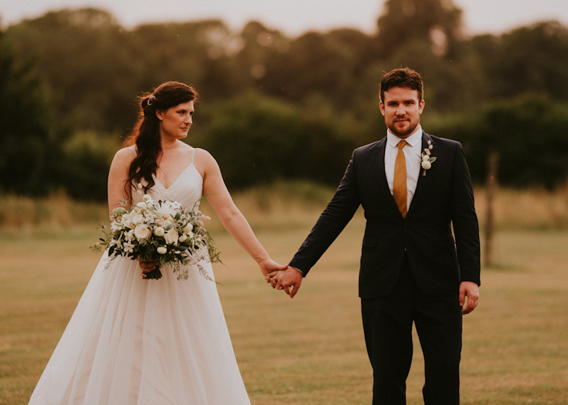 rustic wedding couple at the great barn aynho