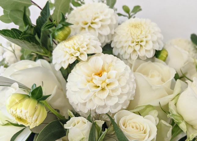 Bridal bouquet with homegrown Dahlias.