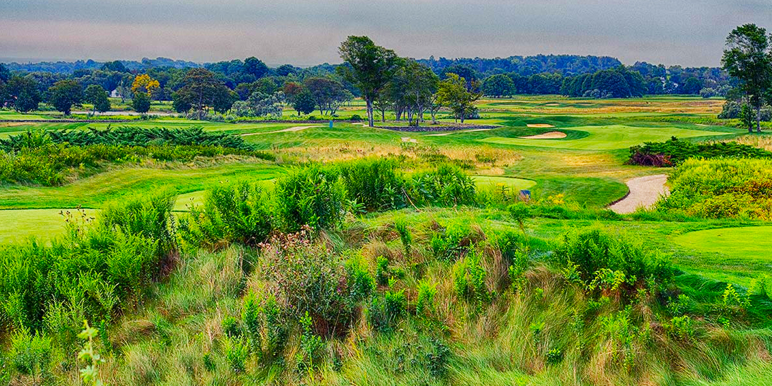 A View Of A Golf Course Located At Golf Vacation Spot Newport National Golf Club In Middletown, RI