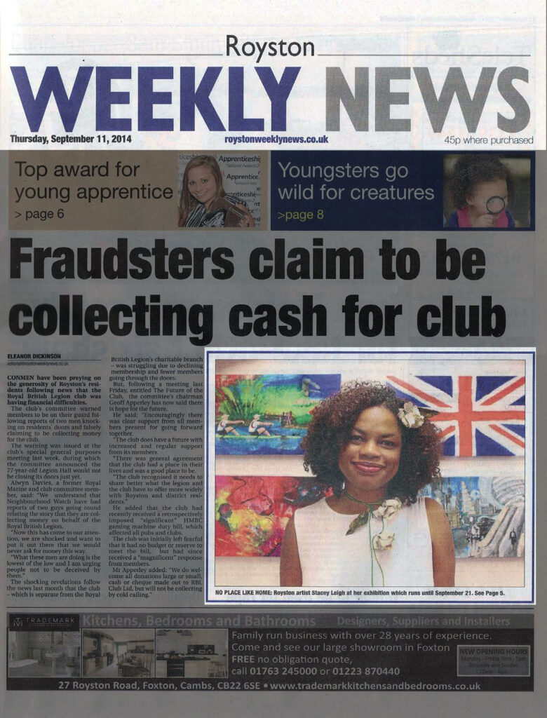 Front Page feature for Royston Weekly News article promoting the concept behind No Place Like Home and telling readers where to see the exhibition and how long it will be running.