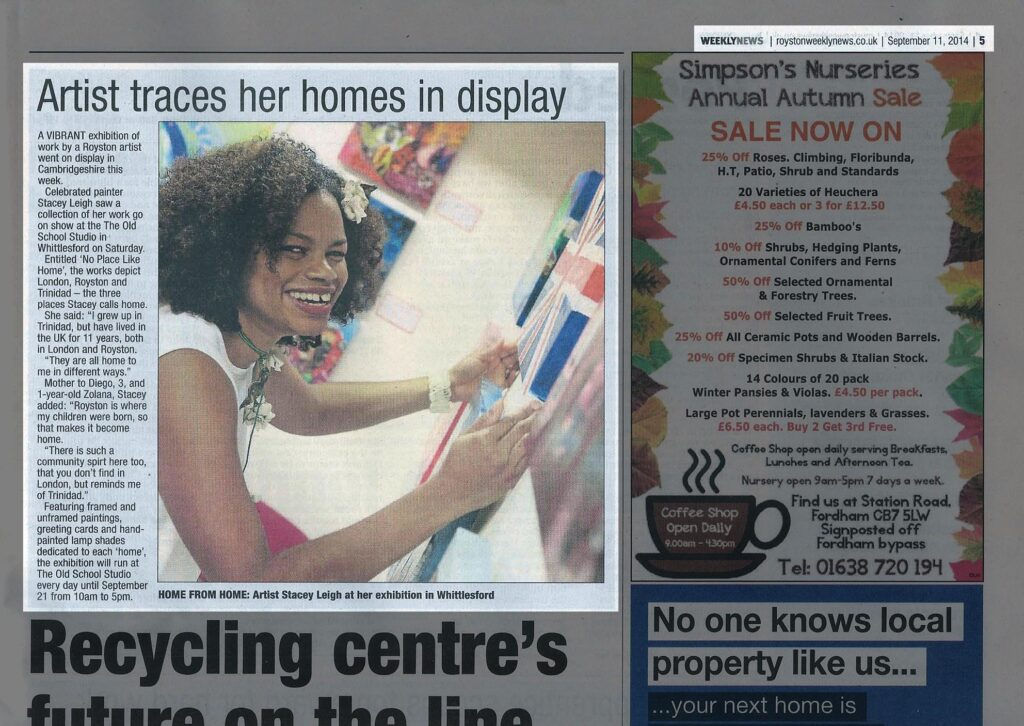 Royston Weekly News article promoting the concept behind No Place Like Home and telling readers where to see the exhibition and how long it will be running.
