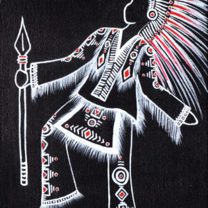 White line drawing painting onto black canvas with red highlights showing a native american styled warrior costume with many embellishments and ornate head-dress