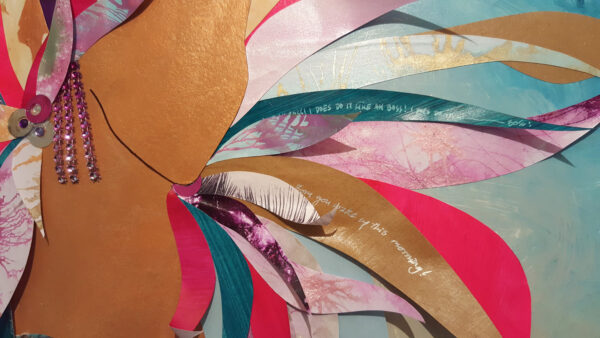 Close Up of painting collage and beadwork