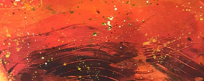 shades of Red like a gradient sinking into almost brown on a heavily textured canvas with light splatters o yellow, orange and white over an abstract background