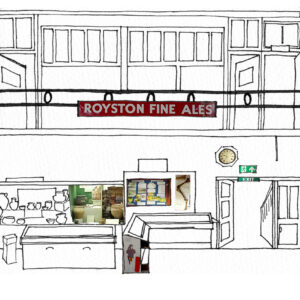 Partial of a drawing of Royston Museum as if siced open and rolled out to show all the collections and their location in the museum. The artwork is a mix of line drawing and collage.