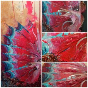 "Collage of different angles of the ""dazzle me"" painting"