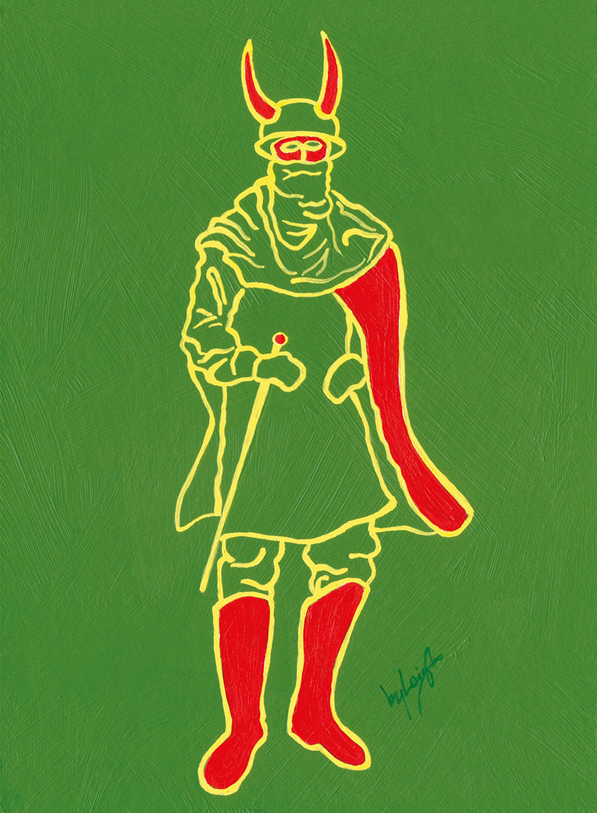 Line drawing of traditional Vieux Coux mas in Grenadian colours