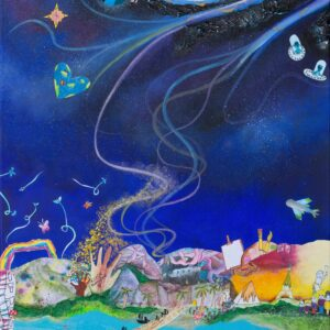 Mixed media painting setting all the places of discovery the children suggested (e.g. imagination, diverse cultures, creativity, etc) within the main areas of space, sky, earth and sea. The main colours of the painting are various shades of blue.
