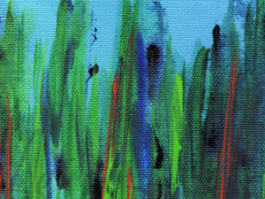 abstract that looks like blades of grass shooting up from the bottom of the image in greens and blues with accents of orange every now and then