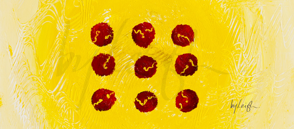 9 red dots with little squiggles scratched into them revealing the yellow textured background behind them