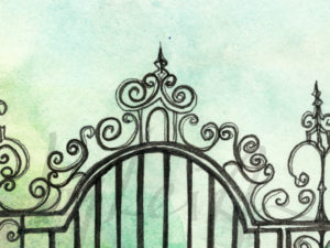 cropped image of the top of wrought iron fret work of an old 19th century gate that once stood outside the Royston Manor House on a gentle green background