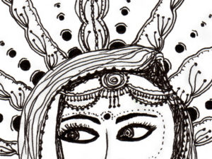 black and white line drawing of an indian bride in full jewellery with sari slung over her head while the sun shines in stylized lines behind her
