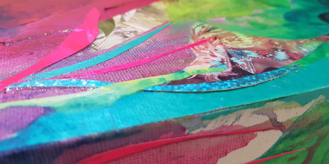 Pink, green, turquoise and royal blue abstract with mixed meid elements like randomly cut iridescent and metallic shapes giving the overall feel of tropical lush vegetation
