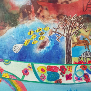 Close up of this Mixed media painting showing artwork from 20 children around the theme 'Our Planet'. Shown here are close ups of flowery arm hugging the globe, bees seeking flowers, trees supporting life on one side and dying on the other, diverse community living under a blue sky.