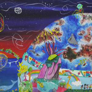 """Mixed media painting combining 20 children's interpretation of the """"Our Planet"""" theme. Children's contributions include: Earth personified and sad about pollution, rainbow communities and wildlife, whales sucking up water pollution, Minecraft countries, and Earth's orbiting the sun."""