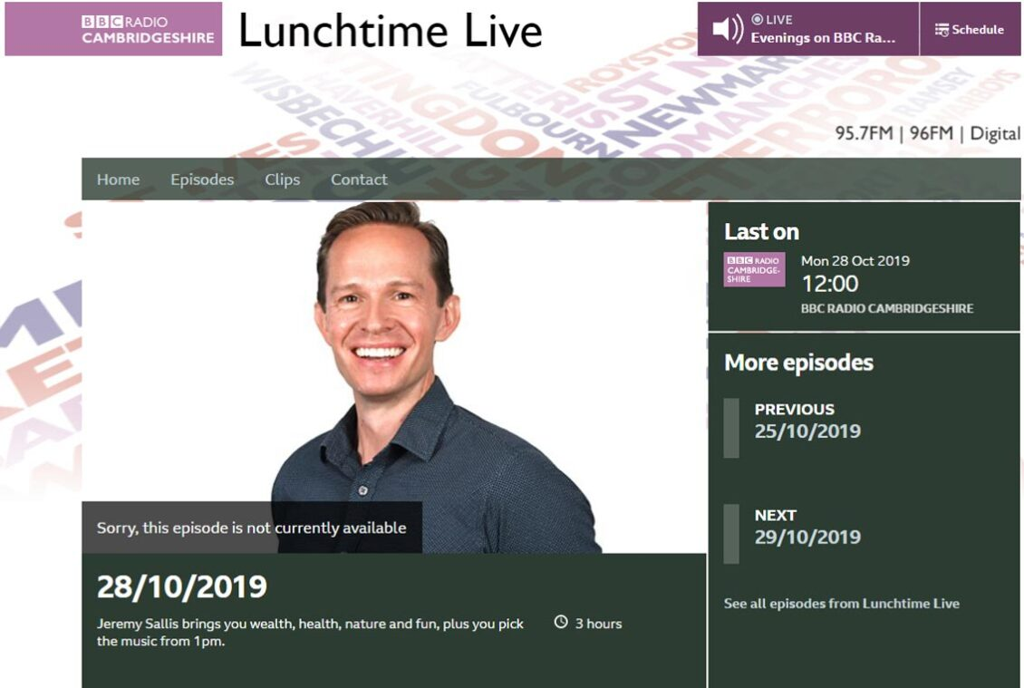 Screenshot of BBC Radio Cambridgeshire's page for Jeremy's Sallis' Lunch time Live show