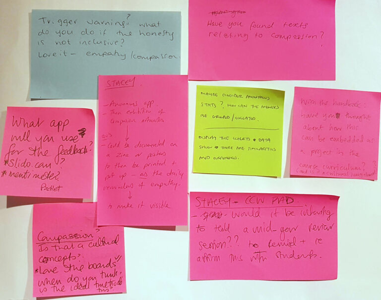 various post-it notes with excellent suggestions, ideas and queries that can help me develop my idea better.