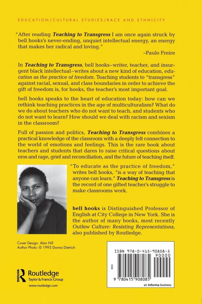 Bell Hooks, Teaching to Transgress Book Back Cover