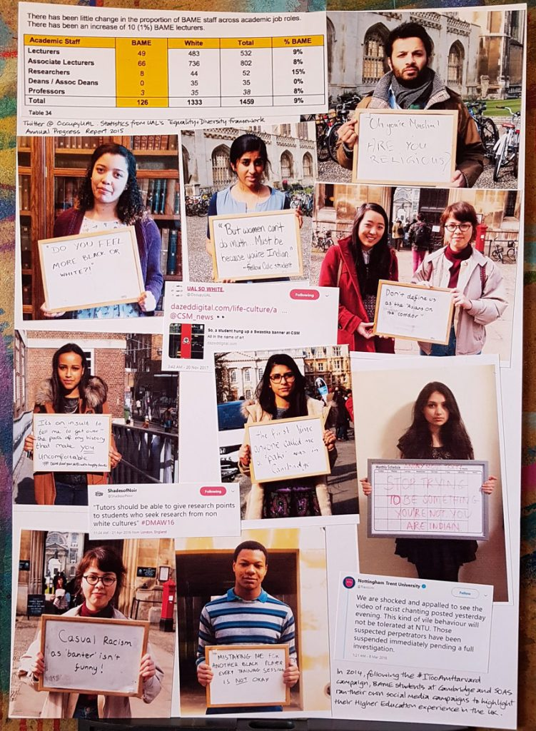 Collage of social media posts that highlight discrimination against BAME students in higher education. Many photos from the #ITooAmSOAS and #WeTooAreCambridge campaigns.