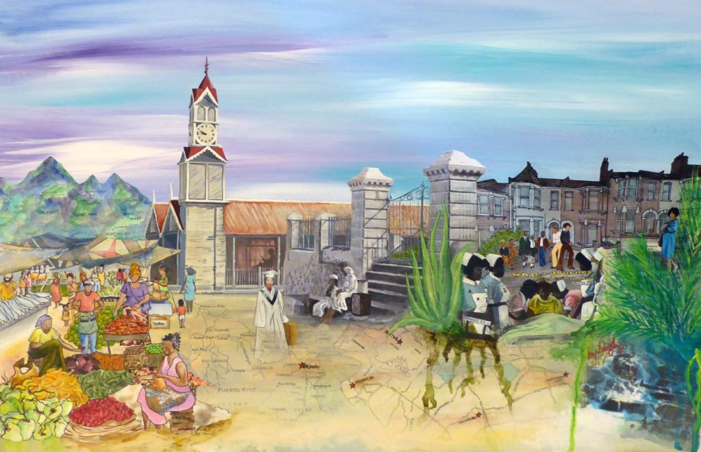 a mixed media painting set in St Andrews Market Jamaica circa 1930s with the clock tower prominently standing out against a blue sky with hints of purple. In the background the Blue mountains are made up of a map of the counties in Jamaica and in the foreground, a woman wearing a white graduation cloak walks away from the stalls and produce of the market towards a large aloe plant, some nurses, and a street of terraced London houses. The ground she walks upon is a collaged map of all the places she has lived in her 80 years of life.