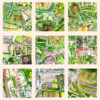 9 mini paintings of maps of places a man has lived in 40 years