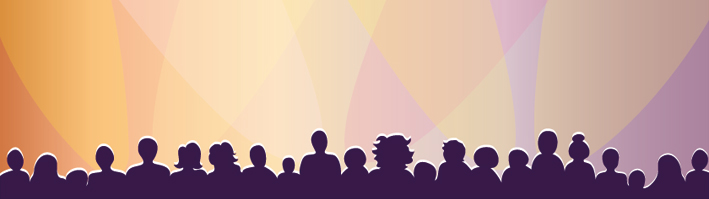 Graphic of audience silhouette against stage lights