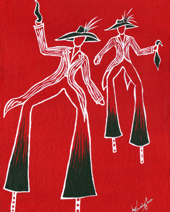 Line drawing of Trinidad and Tobago moko jumbies (costumed stilt walkers) in Trinidad and Tobago national colours