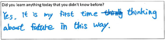 Participant quote: Yes. It is my first time thinking about (the) future in this way