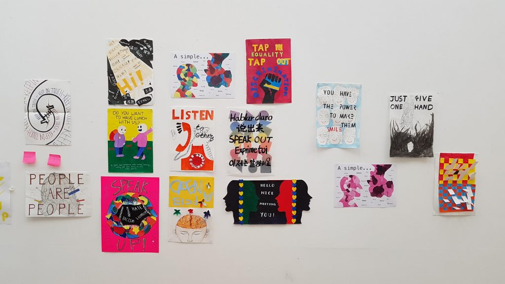 Photos of students work from Inclusivity & Compassion workshop at CCW Foundation on 23 Sep 2019