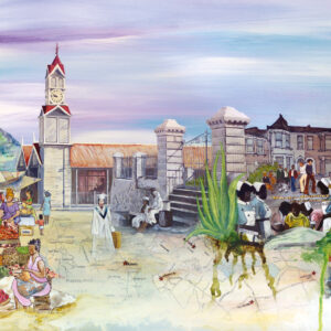 Market scene with Jamaican blue hills in the distance merging into a London street and NHS nurses. All to reflect the journey of the subject of this life story art piece