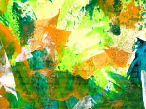 Abstract in shades of green with orange, lemon and white accents