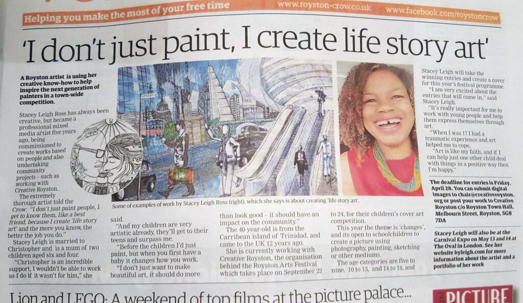 Royston Crow article featuring By Leigh's Life Story Art for the Royston Arts Festival 2017
