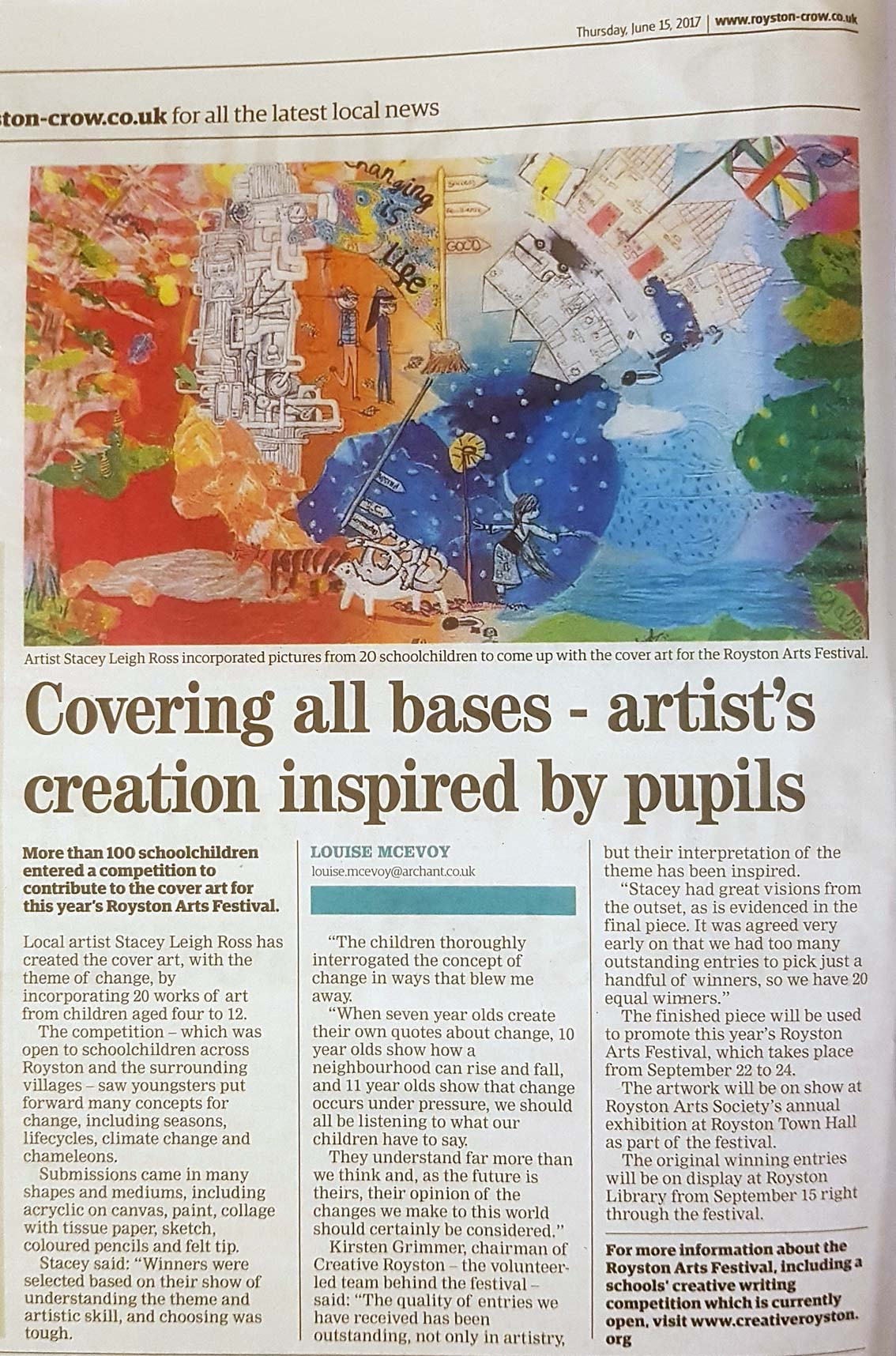 Royston Crow article about how Stacey Leigh Ross incorporates the artwork of 20 children into the Royston Arts Festival Programme Cover